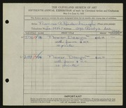 Entry card for Reidenbaugh, Frances for the 1933 May Show.