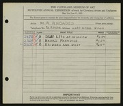 Entry card for Rhoades, M. R. for the 1933 May Show.