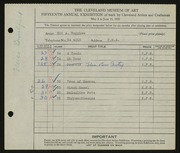 Entry card for Ruggles, E. A. (Edd Alvah) for the 1933 May Show.