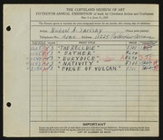 Entry card for Sarisky, Michael A. for the 1933 May Show.
