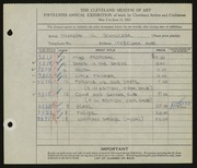 Entry card for Schmotzer, Therese A. for the 1933 May Show.