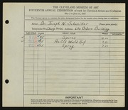 Entry card for Schneider, Dr. Joseph N. for the 1933 May Show.