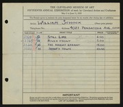 Entry card for Schock, William for the 1933 May Show.