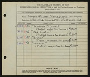 Entry card for Schoenberger, Edward William for the 1933 May Show.
