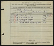Entry card for Schrauf, Leroy J. for the 1933 May Show.