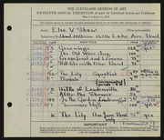 Entry card for Shaw, Elsa Vick for the 1933 May Show.