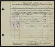 Entry card for Siebold, Dorothy Stieren for the 1933 May Show.