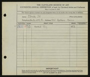 Entry card for Sill, Elfrieda for the 1933 May Show.