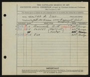Entry card for Sinz, Walter A. for the 1933 May Show.