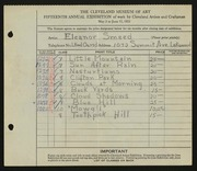 Entry card for Smeed, Eleanor for the 1933 May Show.