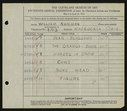 Entry card for Sommer, William for the 1933 May Show.