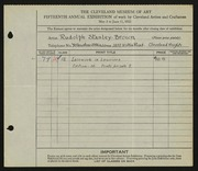 Entry card for Stanley-Brown, R. (Rudolph) for the 1933 May Show.