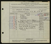 Entry card for Stern, Leonard X. for the 1933 May Show.