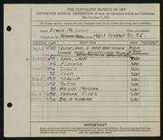 Entry card for Stitt, Edwin M. for the 1933 May Show.