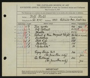 Entry card for Stoll, Rolf for the 1933 May Show.