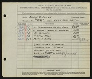 Entry card for Suchy, Arthur B. for the 1933 May Show.