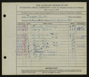 Entry card for Suto, Joseph for the 1933 May Show.