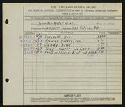 Entry card for Sylvester Metal Works for the 1933 May Show.
