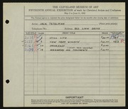 Entry card for Tetalman, Jack for the 1933 May Show.