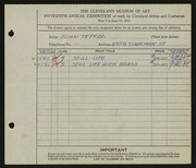 Entry card for Teyral, John for the 1933 May Show.