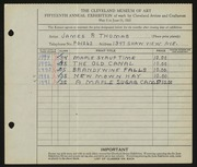 Entry card for Thomas, James R. for the 1933 May Show.