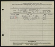 Entry card for Tomasch, E. J. (Elmer John) for the 1933 May Show.