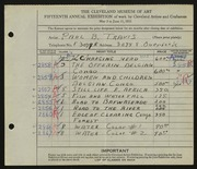 Entry card for Travis, Paul Bough for the 1933 May Show.