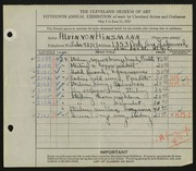 Entry card for Hinzmann, Alvin von for the 1933 May Show.