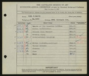 Entry card for Waite, Carl F. for the 1933 May Show.