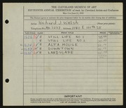 Entry card for Walsh, Richard J. for the 1933 May Show.