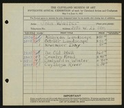 Entry card for Walter, John for the 1933 May Show.