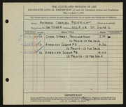 Entry card for Weierich, Andrew Charles for the 1933 May Show.