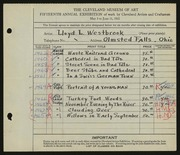 Entry card for Westbrook, Lloyd L. for the 1933 May Show.