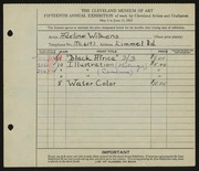 Entry card for David, Adeline Wilkens for the 1933 May Show.