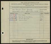 Entry card for Young, Albert Carl for the 1933 May Show.