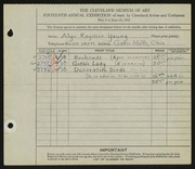 Entry card for Young, Alys Roysher for the 1933 May Show.