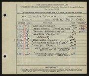 Entry card for Young, Jay Quinter for the 1933 May Show.