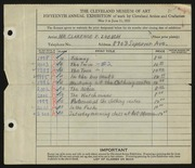 Entry card for Zuelch, Clarence E. for the 1933 May Show.