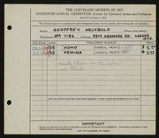 Entry card for Archbold, Geoffrey for the 1934 May Show.
