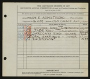 Entry card for Armstrong, Mary E. for the 1934 May Show.