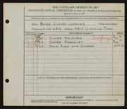 Entry card for Baird, Elnora Weaver for the 1934 May Show.