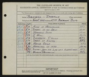 Entry card for Balkwill, Isabelle for the 1934 May Show.