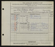 Entry card for Ball, George Colburn for the 1934 May Show.