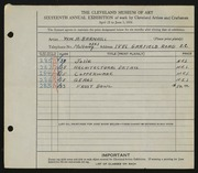 Entry card for Barnhill, William for the 1934 May Show.
