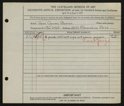 Entry card for Barron, Jane Carson for the 1934 May Show.