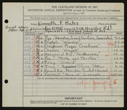 Entry card for Bates, Kenneth F., and Cleveland School of Art for the 1934 May Show.