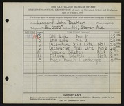 Entry card for Becker, Leonard John for the 1934 May Show.