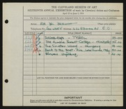 Entry card for Beckwith, Ada Bell for the 1934 May Show.