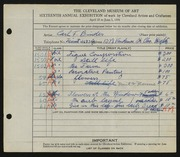 Entry card for Binder, Carl for the 1934 May Show.