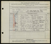 Entry card for Black, Miriam H. for the 1934 May Show.